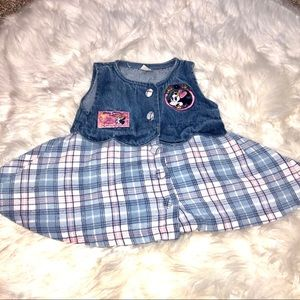 Minnie Moue Baby plaid and jean dress